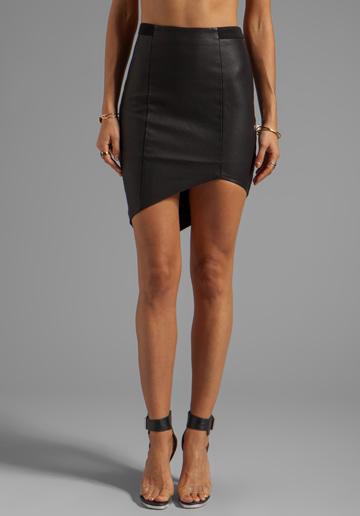 BARDOT Vegan Leather Asymmetric Skirt stylist picks revolve clothing