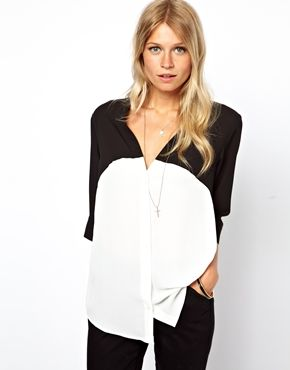 ASOS Blouse With V-Neck In Mono Color Block black white stylists pick