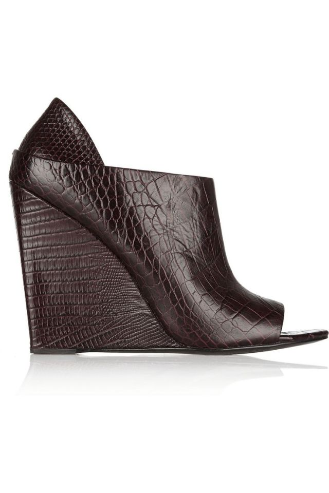 ALEXANDER WANG Alla croc-effect leather ankle boots